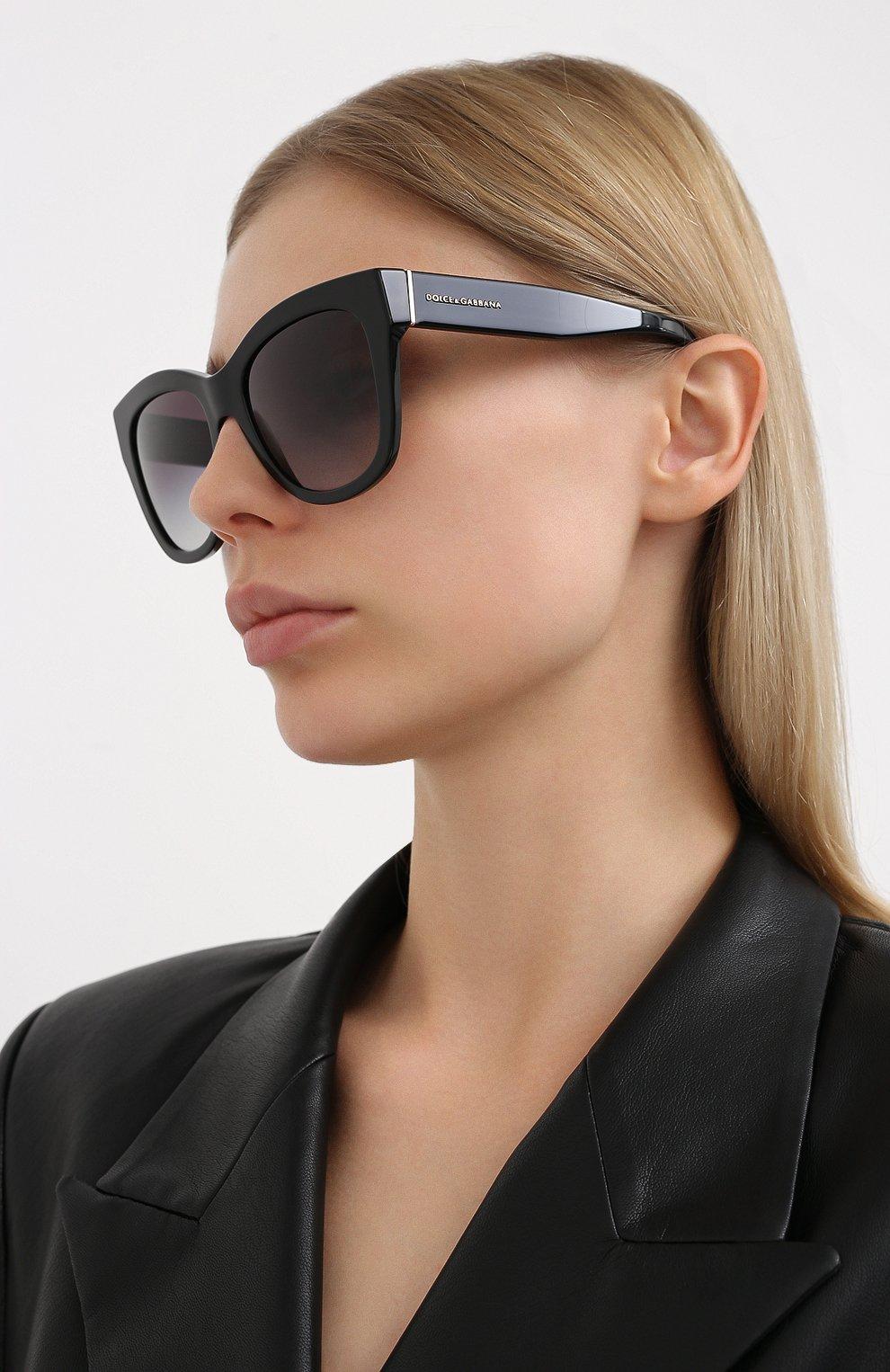 Женские солнцезащитные очки DOLCE & GABBANA черного цвета, арт. 4270-501/8G | Фото 2