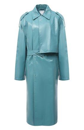 Женское кожаное пальто BOTTEGA VENETA голубого цвета, арт. 626527/VKLC0 | Фото 1