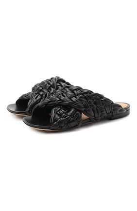 Женские кожаные шлепанцы bv board BOTTEGA VENETA черного цвета, арт. 631935/VBT10 | Фото 1