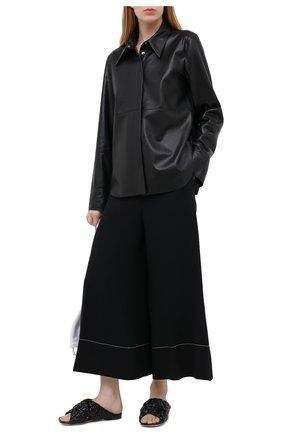 Женские кожаные шлепанцы bv board BOTTEGA VENETA черного цвета, арт. 631935/VBT10 | Фото 2