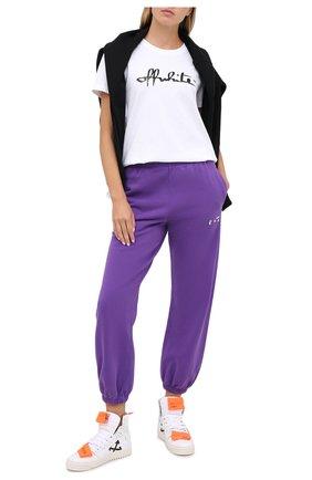 Женские хлопковые джоггеры OFF-WHITE фиолетового цвета, арт. 0WCH006E20FLE0013501 | Фото 2