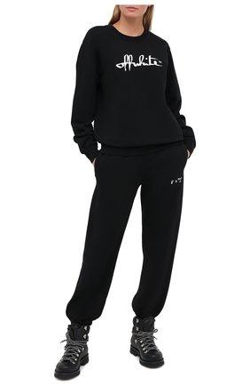 Женские хлопковые джоггеры OFF-WHITE черного цвета, арт. 0WCH006E20FLE0011001 | Фото 2