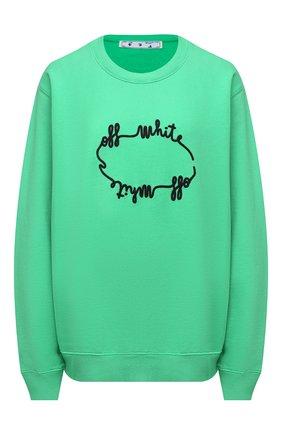 Женская хлопковый свитшот OFF-WHITE зеленого цвета, арт. 0WBA055E20FLE0065510 | Фото 1