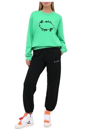Женская хлопковый свитшот OFF-WHITE зеленого цвета, арт. 0WBA055E20FLE0065510 | Фото 2