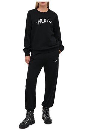 Женская хлопковый свитшот OFF-WHITE черного цвета, арт. 0WBA055E20FLE0011001 | Фото 2