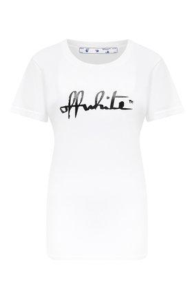 Женская хлопковая футболка OFF-WHITE белого цвета, арт. 0WAA049E20JER0070110 | Фото 1
