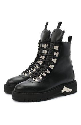 Женские кожаные ботинки OFF-WHITE черно-белого цвета, арт. 0WIA045E20LEA0011001 | Фото 1