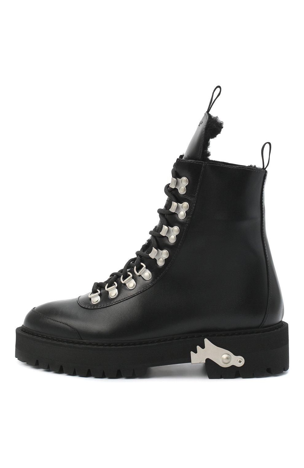 Женские кожаные ботинки OFF-WHITE черно-белого цвета, арт. 0WIA045E20LEA0011001 | Фото 3