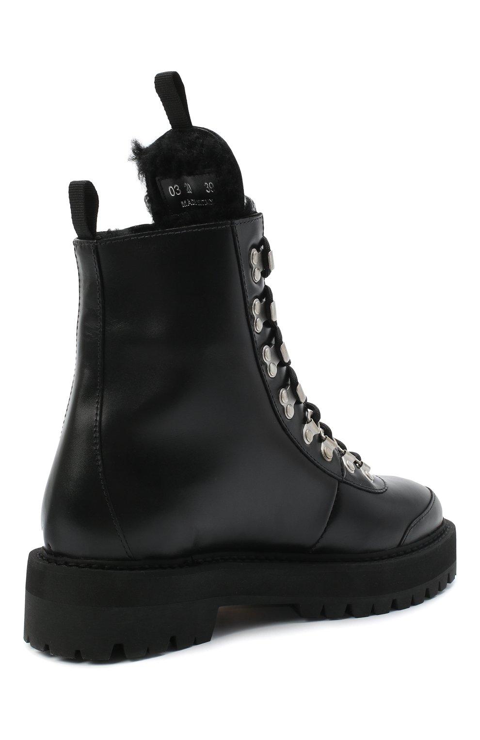 Женские кожаные ботинки OFF-WHITE черно-белого цвета, арт. 0WIA045E20LEA0011001 | Фото 4