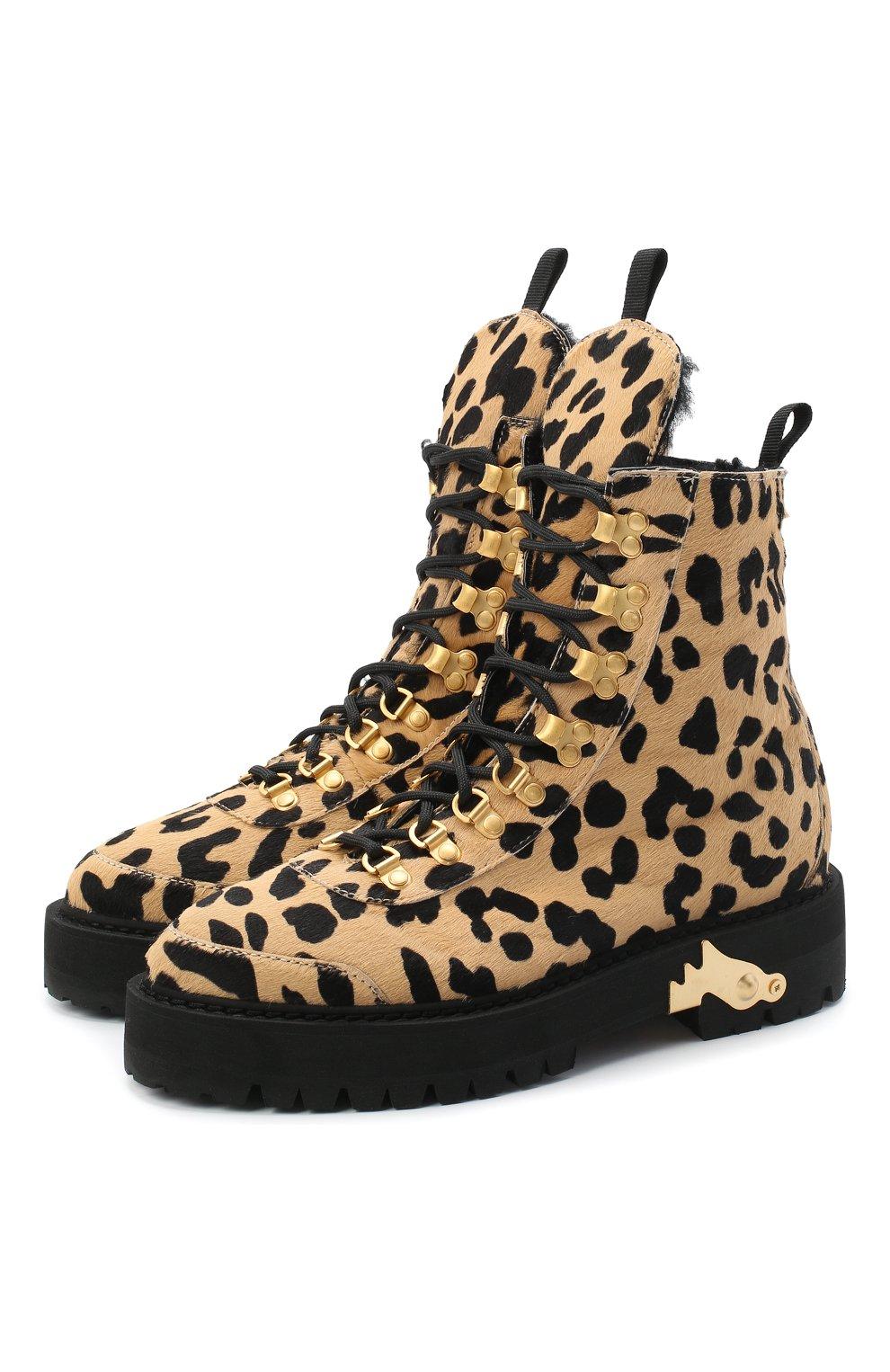 Женские кожаные ботинки OFF-WHITE леопардового цвета, арт. 0WIA045E20LEA0026210   Фото 1
