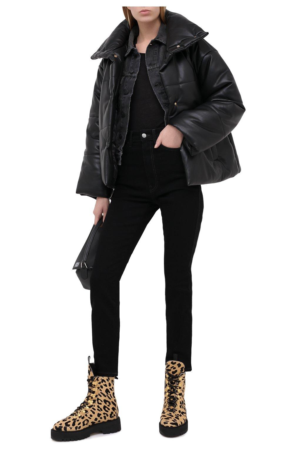 Женские кожаные ботинки OFF-WHITE леопардового цвета, арт. 0WIA045E20LEA0026210   Фото 2