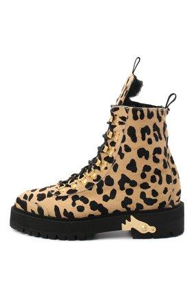 Женские кожаные ботинки OFF-WHITE леопардового цвета, арт. 0WIA045E20LEA0026210   Фото 3