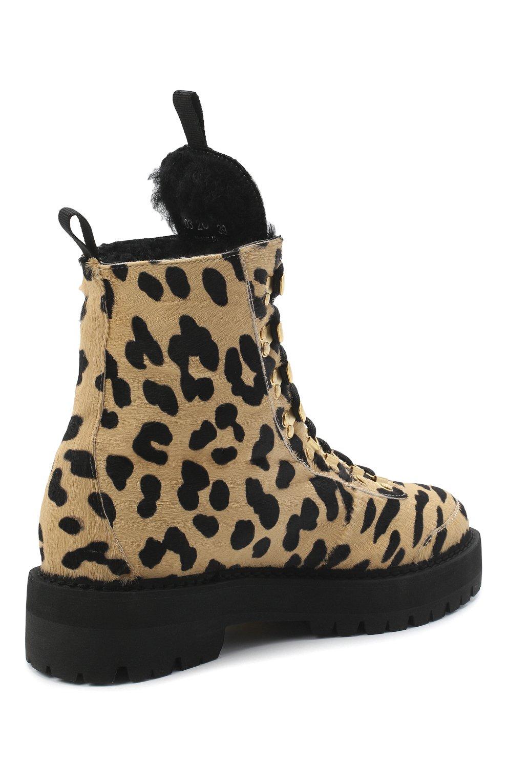 Женские кожаные ботинки OFF-WHITE леопардового цвета, арт. 0WIA045E20LEA0026210   Фото 4