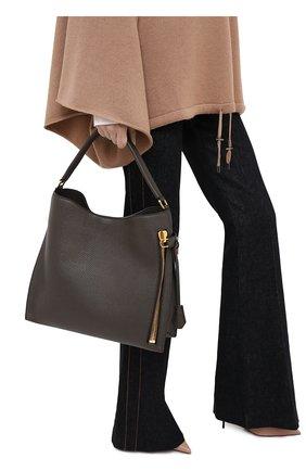 Женский сумка-тоут alix TOM FORD хаки цвета, арт. L0810T-CD6   Фото 2 (Материал: Натуральная кожа; Сумки-технические: Сумки-шопперы; Размер: medium)