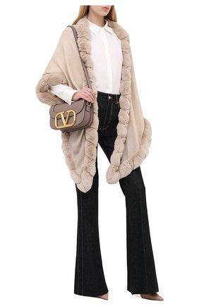 Женская кашемировая шаль с мехом шиншиллы LORO PIANA кремвого цвета, арт. FAI8699 | Фото 2