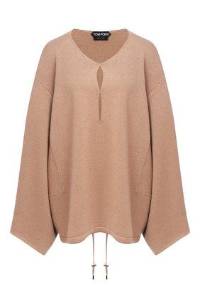 Женская кашемировый пуловер TOM FORD бежевого цвета, арт. MAK986-YAX226 | Фото 1