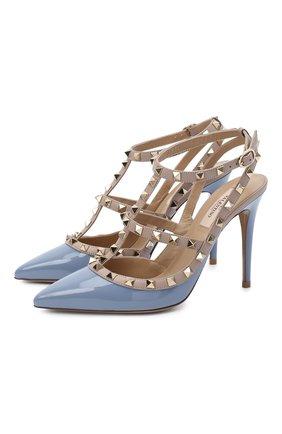 Женская кожаные туфли valentino garavani rockstud VALENTINO голубого цвета, арт. UW2S0393/VNW | Фото 1