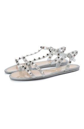 Женские сандалии valentino garavani rockstud VALENTINO серебряного цвета, арт. UW2S0H38/GAC | Фото 1