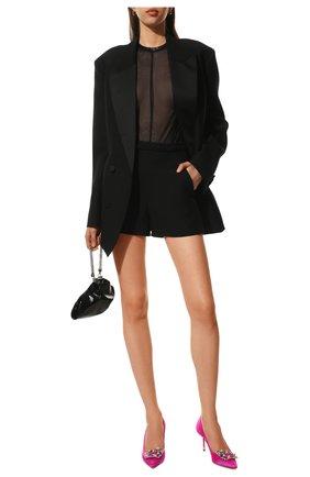 Женские шорты из шерсти и шелка VALENTINO черного цвета, арт. UB3RF1D01CF   Фото 2
