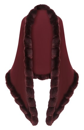 Женская кашемировая шаль с мехом шиншиллы LORO PIANA бордового цвета, арт. FAI8699 | Фото 1