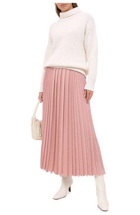 Женская юбка из кашемира и шелка LORO PIANA розового цвета, арт. FAL2186 | Фото 2