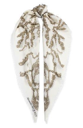Женская шерстяная шаль ALEXANDER MCQUEEN кремвого цвета, арт. 632889/3A34Q | Фото 1