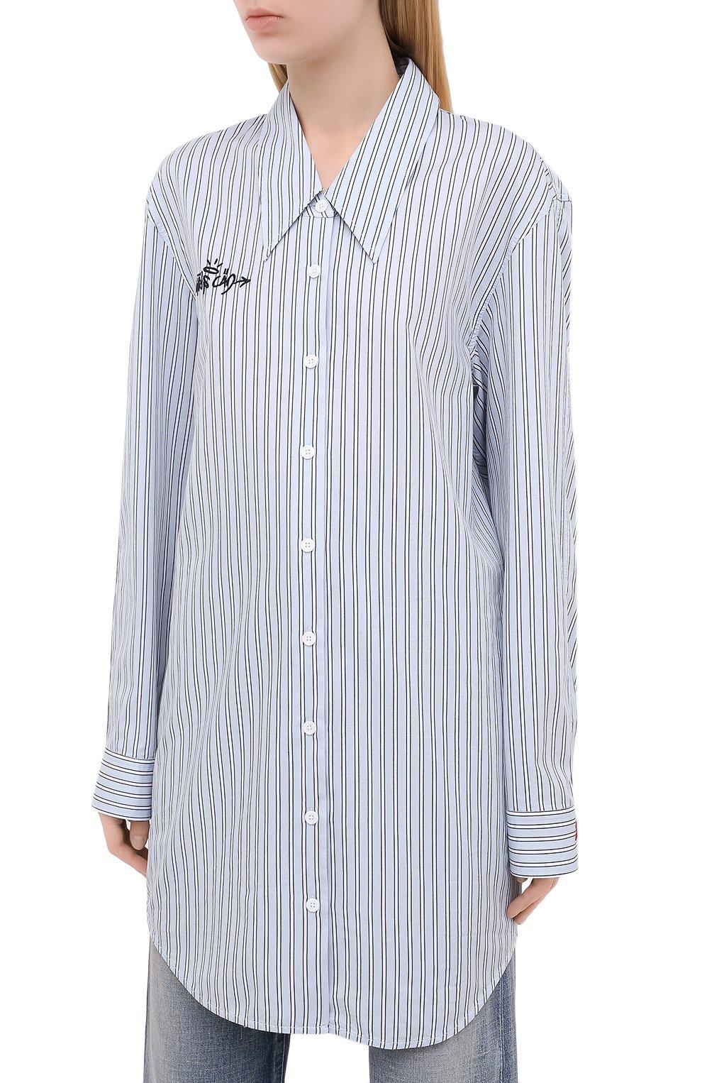 Женская хлопковая рубашка ZADIG&VOLTAIRE голубого цвета, арт. WJCC0401F | Фото 3