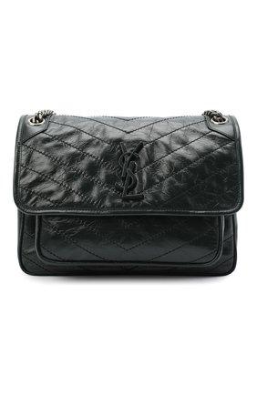 Женская сумка niki SAINT LAURENT темно-зеленого цвета, арт. 633158/0EN04   Фото 1 (Ремень/цепочка: На ремешке; Материал: Натуральная кожа; Сумки-технические: Сумки через плечо; Размер: medium)