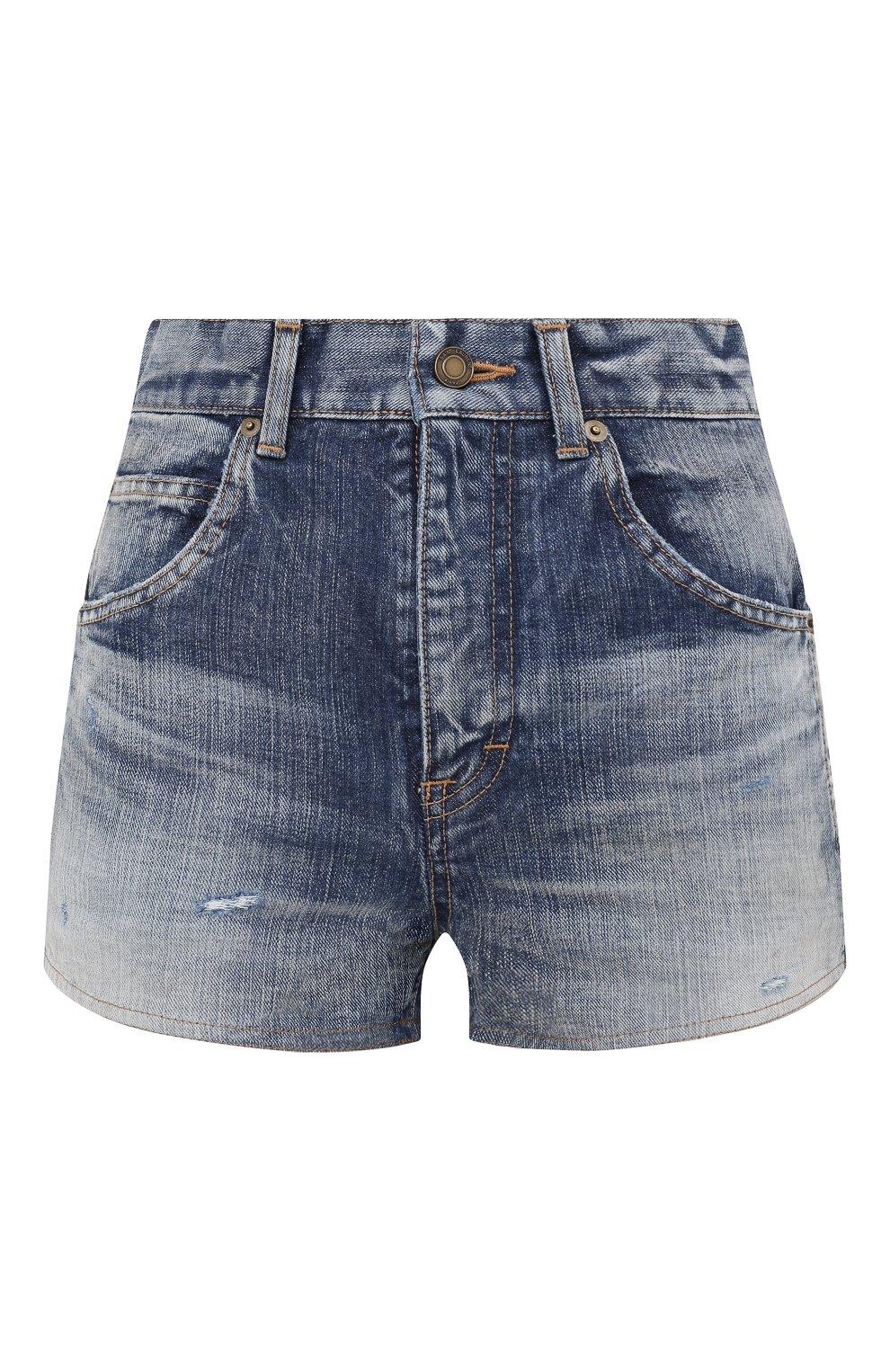 Женские джинсовые шорты SAINT LAURENT синего цвета, арт. 635478/Y896G   Фото 1 (Женское Кросс-КТ: Шорты-одежда; Кросс-КТ: Деним; Длина Ж (юбки, платья, шорты): Мини; Материал внешний: Хлопок; Стили: Кэжуэл)
