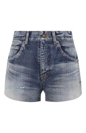 Женские джинсовые шорты SAINT LAURENT синего цвета, арт. 635478/Y896G | Фото 1 (Материал внешний: Хлопок; Длина Ж (юбки, платья, шорты): Мини; Женское Кросс-КТ: Шорты-одежда; Стили: Кэжуэл; Кросс-КТ: Деним)