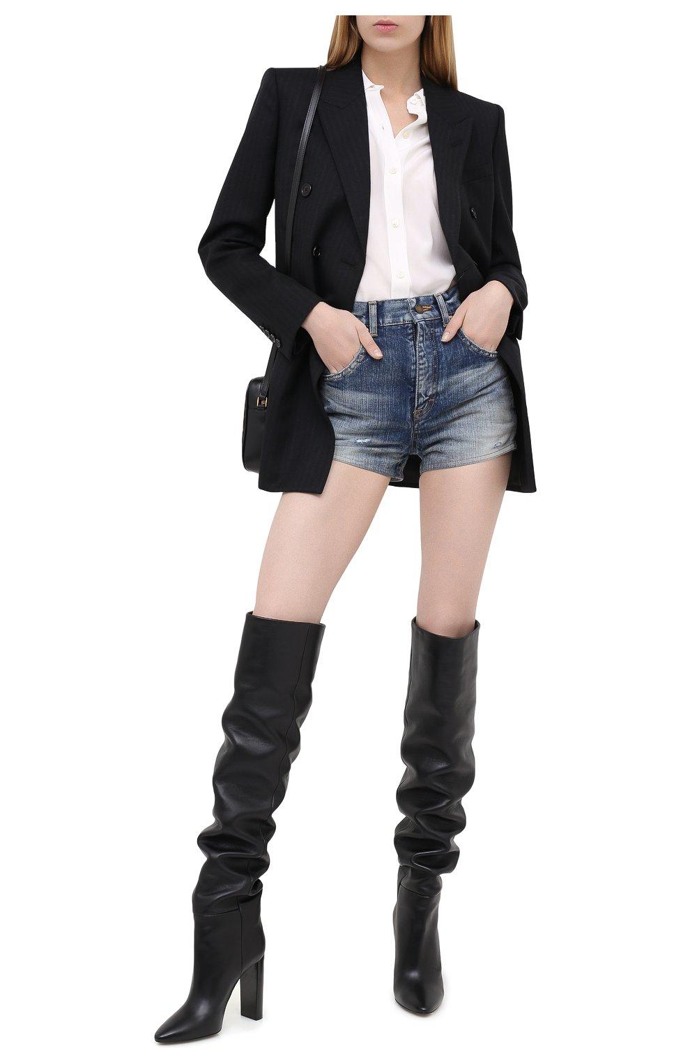 Женские джинсовые шорты SAINT LAURENT синего цвета, арт. 635478/Y896G   Фото 2 (Женское Кросс-КТ: Шорты-одежда; Кросс-КТ: Деним; Длина Ж (юбки, платья, шорты): Мини; Материал внешний: Хлопок; Стили: Кэжуэл)