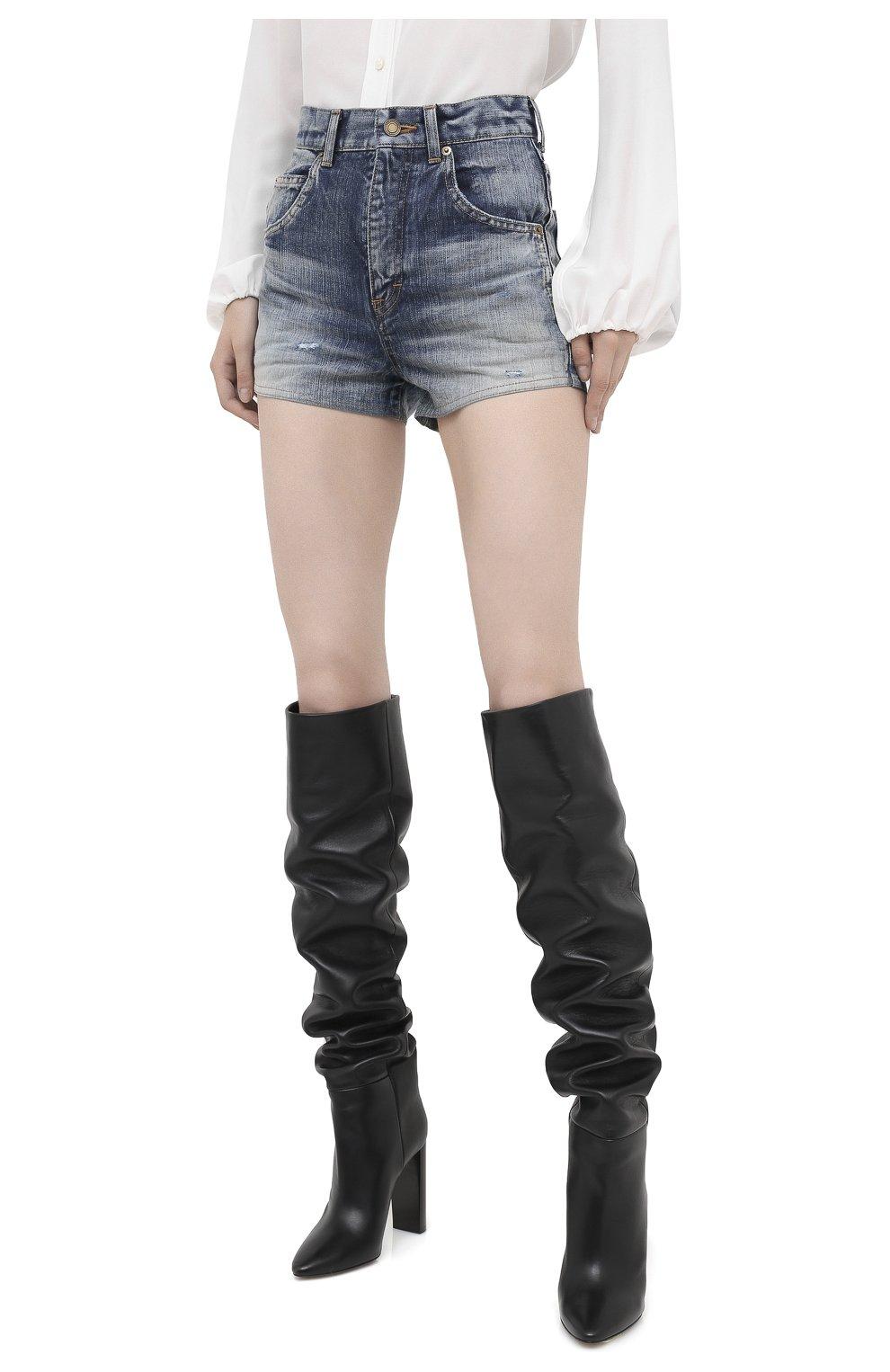 Женские джинсовые шорты SAINT LAURENT синего цвета, арт. 635478/Y896G   Фото 3 (Женское Кросс-КТ: Шорты-одежда; Кросс-КТ: Деним; Длина Ж (юбки, платья, шорты): Мини; Материал внешний: Хлопок; Стили: Кэжуэл)