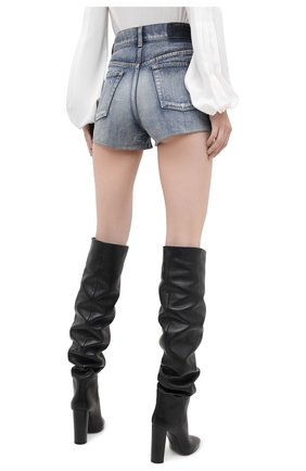 Женские джинсовые шорты SAINT LAURENT синего цвета, арт. 635478/Y896G   Фото 4 (Женское Кросс-КТ: Шорты-одежда; Кросс-КТ: Деним; Длина Ж (юбки, платья, шорты): Мини; Материал внешний: Хлопок; Стили: Кэжуэл)