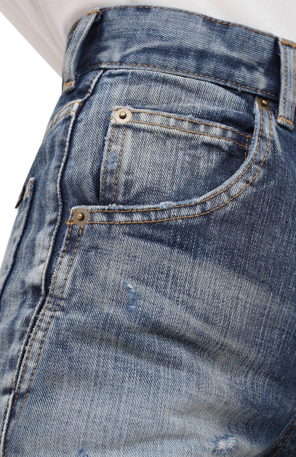 Женские джинсовые шорты SAINT LAURENT синего цвета, арт. 635478/Y896G   Фото 5 (Женское Кросс-КТ: Шорты-одежда; Кросс-КТ: Деним; Длина Ж (юбки, платья, шорты): Мини; Материал внешний: Хлопок; Стили: Кэжуэл)