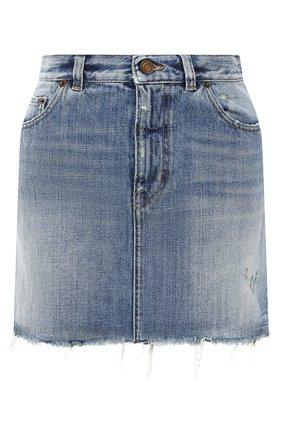 Женская джинсовая юбка SAINT LAURENT синего цвета, арт. 633048/Y996K | Фото 1