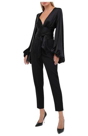 Женские шерстяные брюки SAINT LAURENT черного цвета, арт. 631970/Y512W | Фото 2