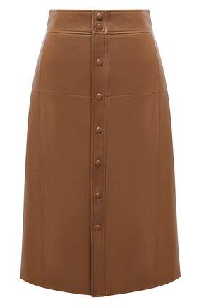 Женская кожаная юбка SAINT LAURENT коричневого цвета, арт. 624536/Y50A2 | Фото 1