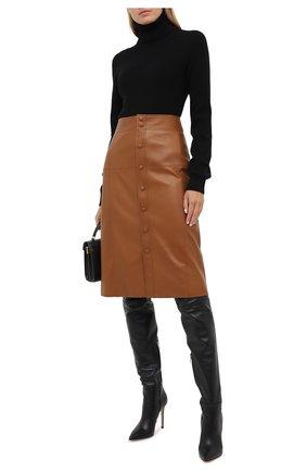 Женская кожаная юбка SAINT LAURENT коричневого цвета, арт. 624536/Y50A2 | Фото 2
