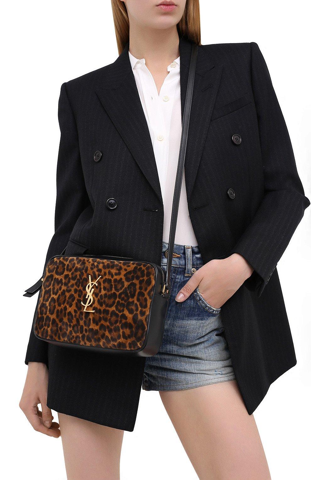 Женская кожаная сумка lou medium SAINT LAURENT леопардового цвета, арт. 612542/1Q12M   Фото 2