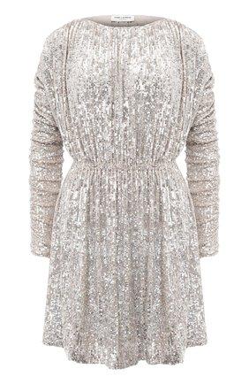 Женское платье с пайетками SAINT LAURENT серебряного цвета, арт. 611963/YB0K2 | Фото 1