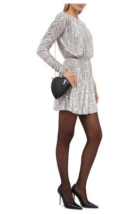 Женское платье с пайетками SAINT LAURENT серебряного цвета, арт. 611963/YB0K2 | Фото 2