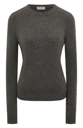 Женский шерстяной свитер SAINT LAURENT серого цвета, арт. 603084/YALK2 | Фото 1 (Длина (для топов): Стандартные; Рукава: Длинные; Материал внешний: Шерсть; Стили: Кэжуэл, Классический, Минимализм; Женское Кросс-КТ: Свитер-одежда)