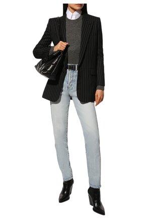 Женский шерстяной свитер SAINT LAURENT серого цвета, арт. 603084/YALK2 | Фото 2 (Длина (для топов): Стандартные; Рукава: Длинные; Материал внешний: Шерсть; Стили: Кэжуэл, Классический, Минимализм; Женское Кросс-КТ: Свитер-одежда)