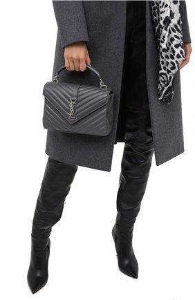 Женская кожаная сумка college medium SAINT LAURENT темно-серого цвета, арт. 600279/1UQ06 | Фото 2