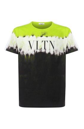 Мужская хлопковая футболка VALENTINO зеленого цвета, арт. UV3MG06Z6HC | Фото 1
