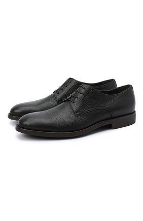 Мужской кожаные дерби MORESCHI черного цвета, арт. 43567/162/CERV0/F.NAPPA | Фото 1