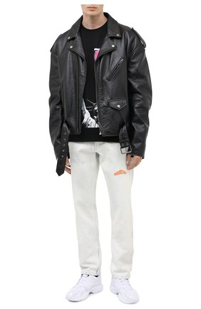 Мужской хлопковый свитшот DIEGO VENTURINO черного цвета, арт. FW20-DV FLG SLLV   Фото 2