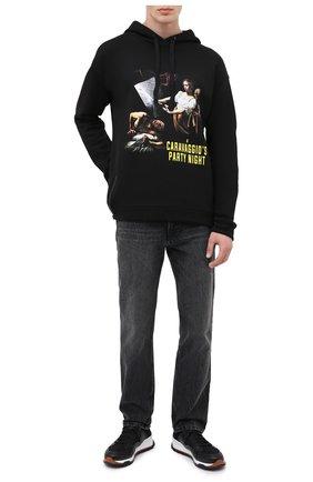 Мужской хлопковое худи DIEGO VENTURINO черного цвета, арт. FW20-DV FLH CPN | Фото 2
