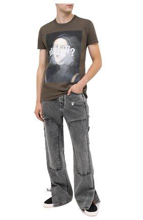 Мужская хлопковая футболка DIEGO VENTURINO хаки цвета, арт. FW20-DV TS DFQ   Фото 2