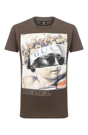 Мужская хлопковая футболка DIEGO VENTURINO хаки цвета, арт. FW20-DV TS IRP | Фото 1